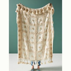 NWOT Anthropologie Tasseled Terro Throw Blanket